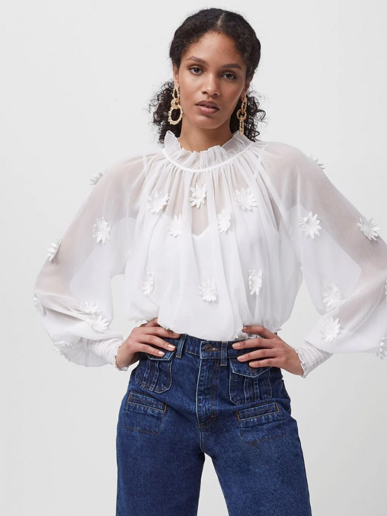 French Connection Summer White Aziza Floral Long Sleeve Blouse