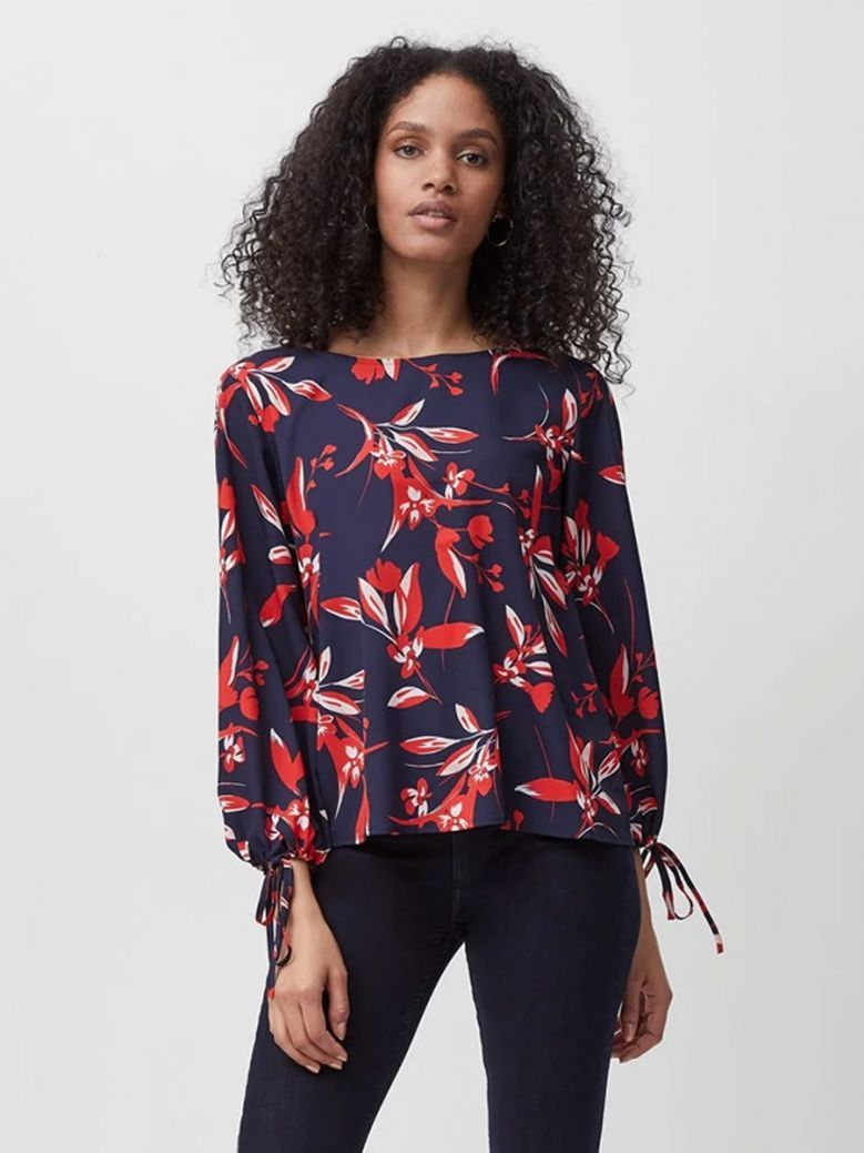 French Connection Navy Elvia Crepe Light Long Sleeve Top