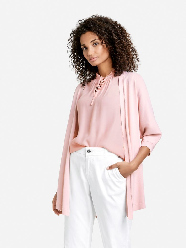 Taifun Ladies Pink Open Cardigan with 3/4-Length Sleeves