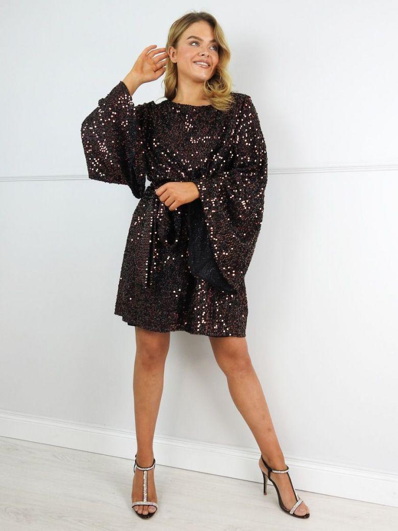 Mat Bronze Sequin Wide Sleeve Dress