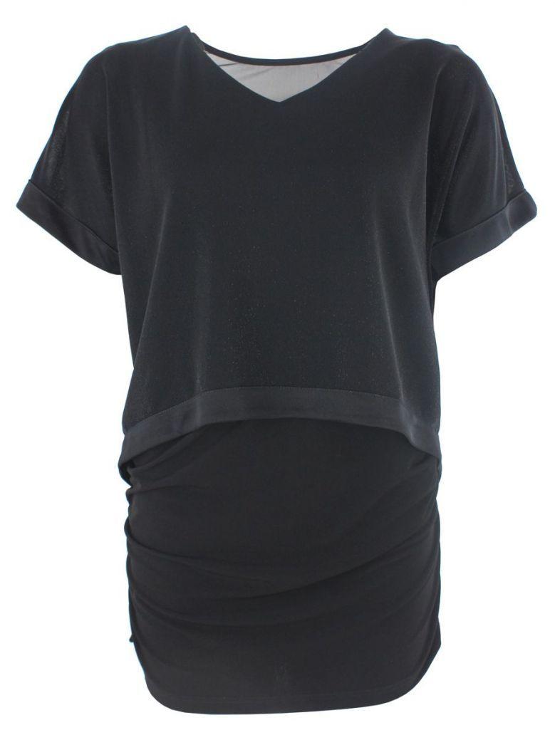 Tia Black Glitter Layered Short Sleeved Top
