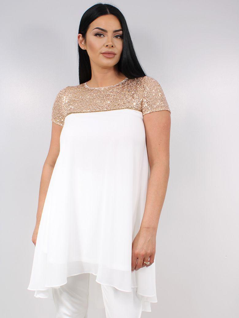 Tia White Sequin Detail Long Top