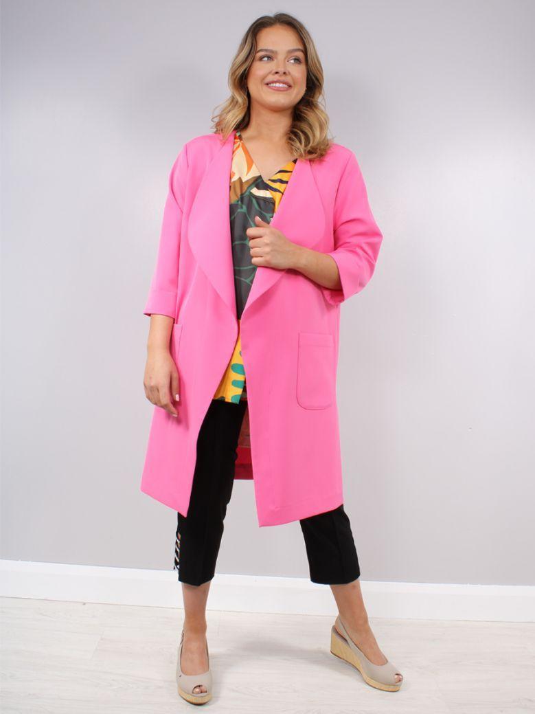 Tia Mid Pink Longline Blazer Jacket