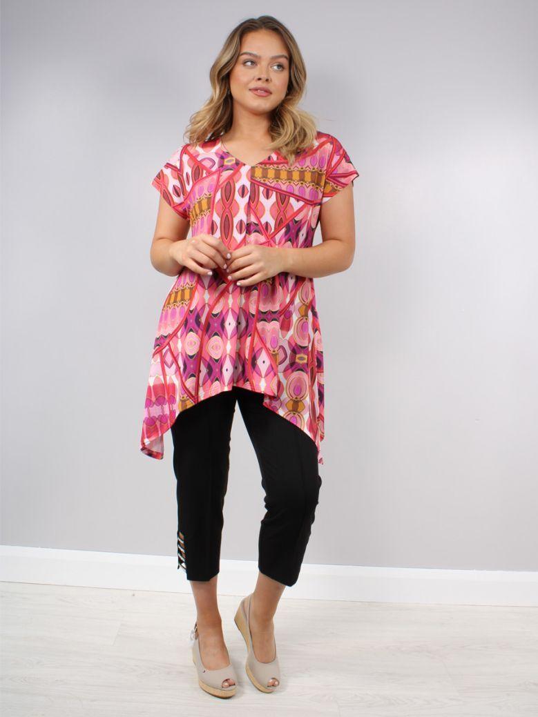 Tia Pink Jewel Printed Top