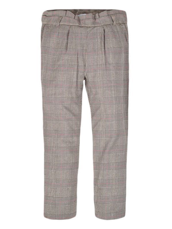 Mayoral Brown/Multi Pleated Houndstooth Patterned Trousers