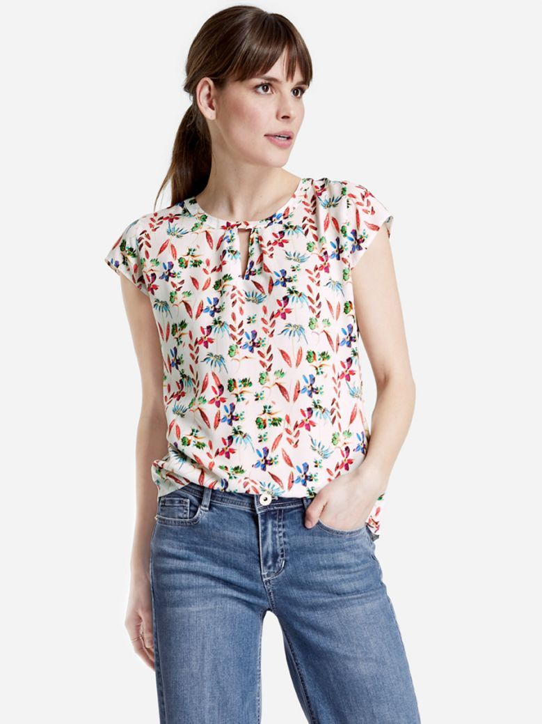 Taifun Ladies White Blouse Top with a Floral Print