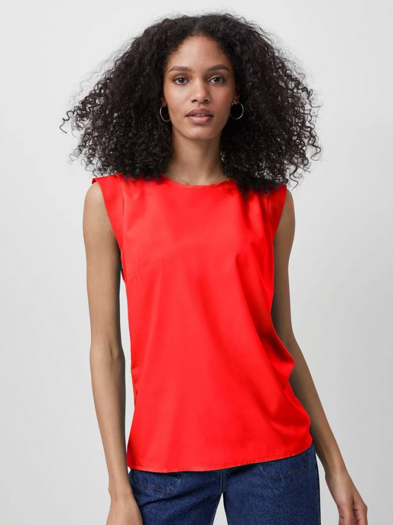 French Connection Fiery Red Crepe Light Cap Sleeve Top