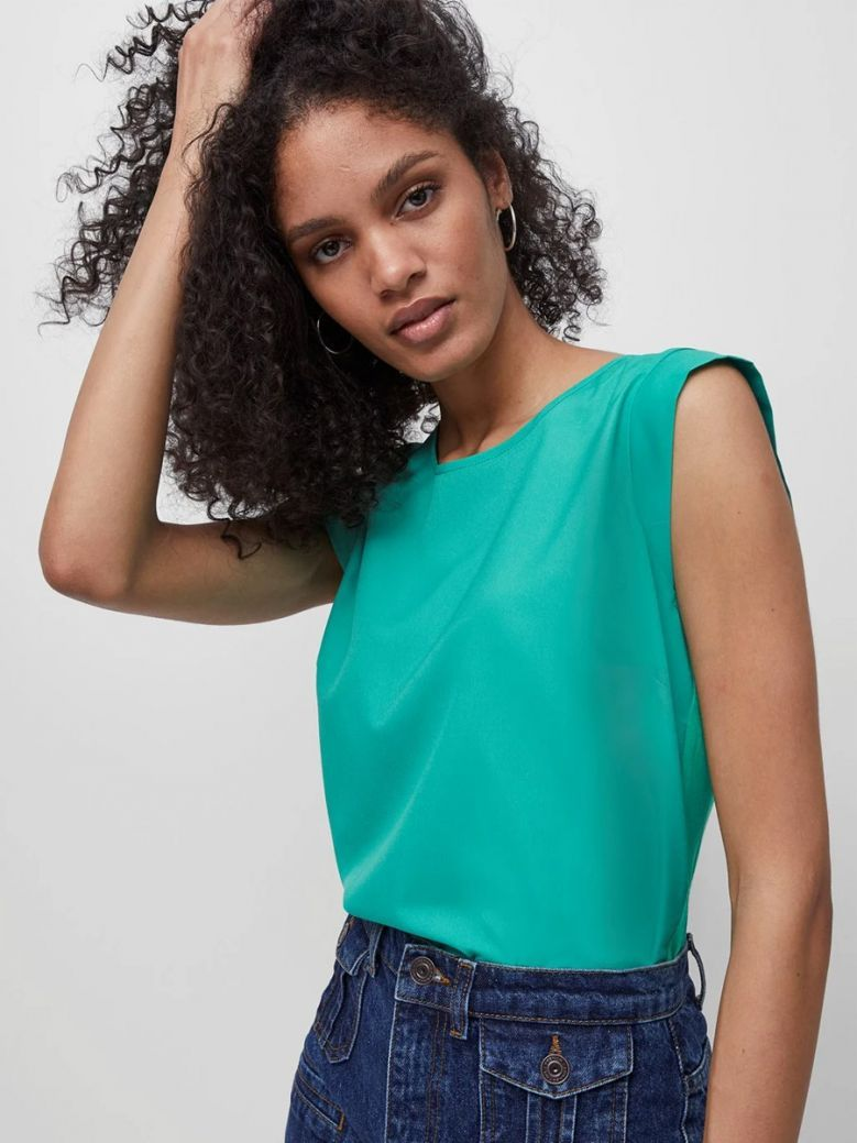 French Connection Palm Green Crepe Light Cap Sleeve Top