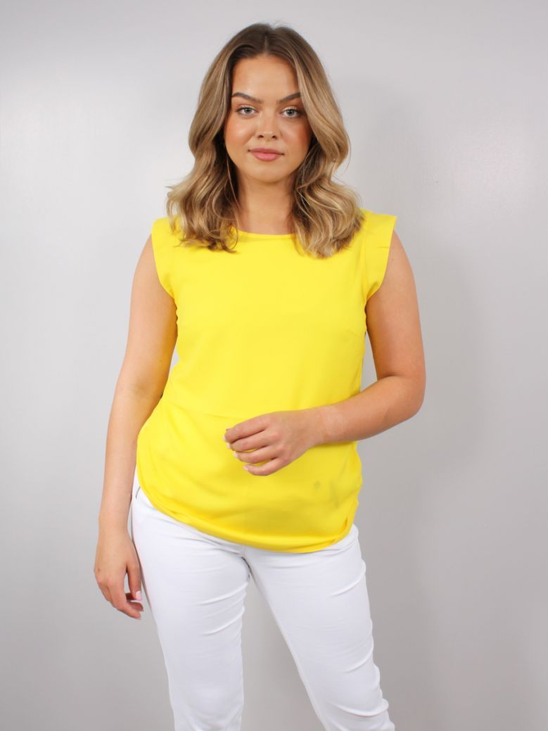 French Connection Bright Daffodil Crepe Light Cap Sleeve Top