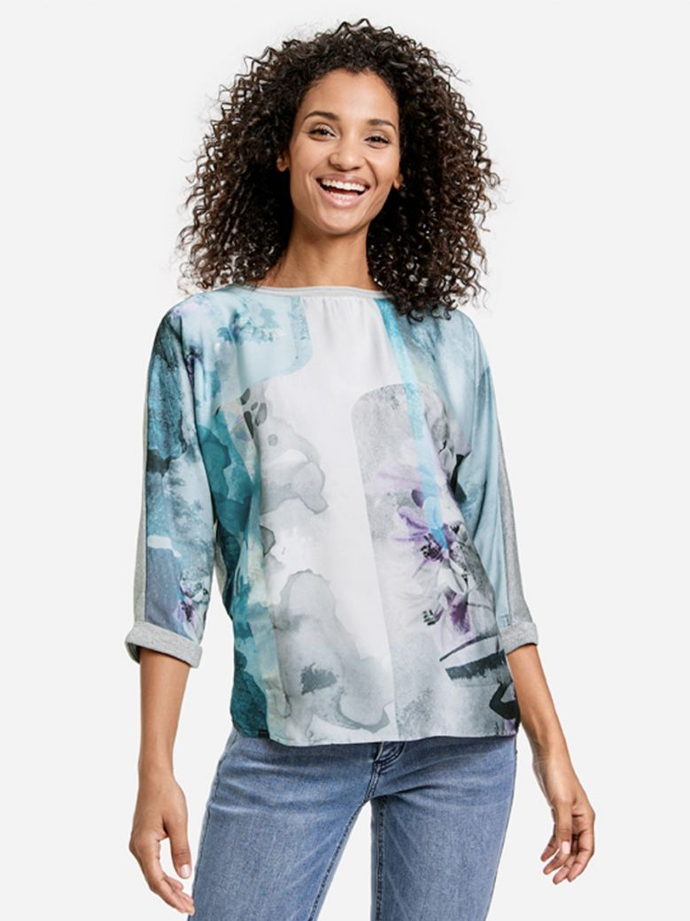 Taifun Glacier Blue Blouse Top with Satin Front