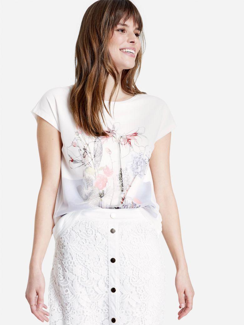Taifun Ladies White T-Shirt with Layered Effect
