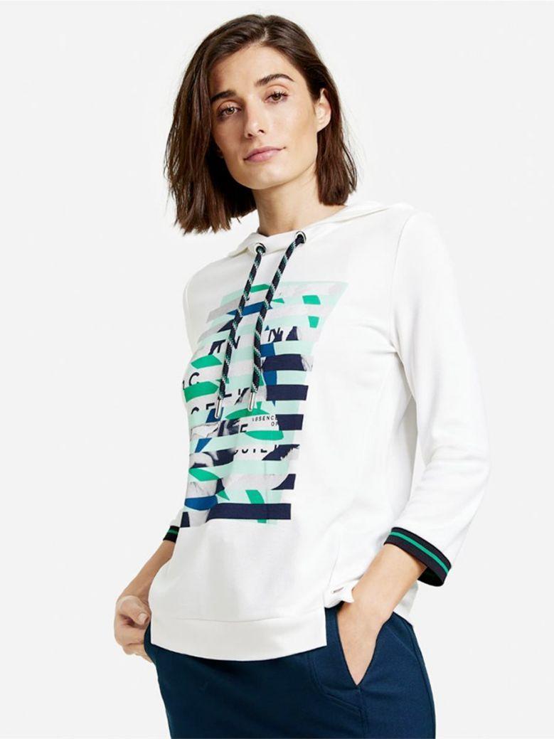 Taifun Ladies Off White Hooded Sweater