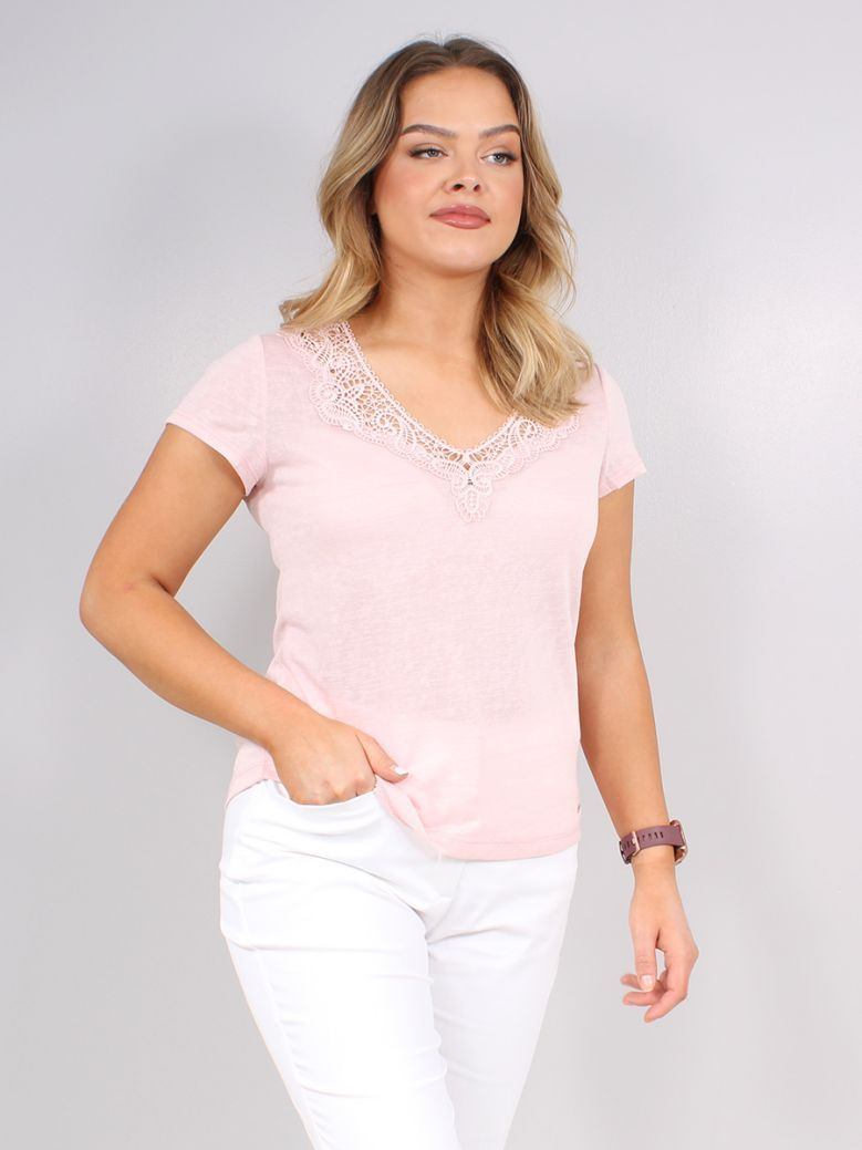 Taifun Pink T-shirt with Crocheted Lace
