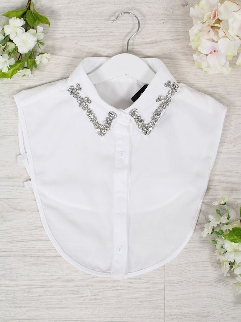Cilento Women White Diamond Detail Collar Insert