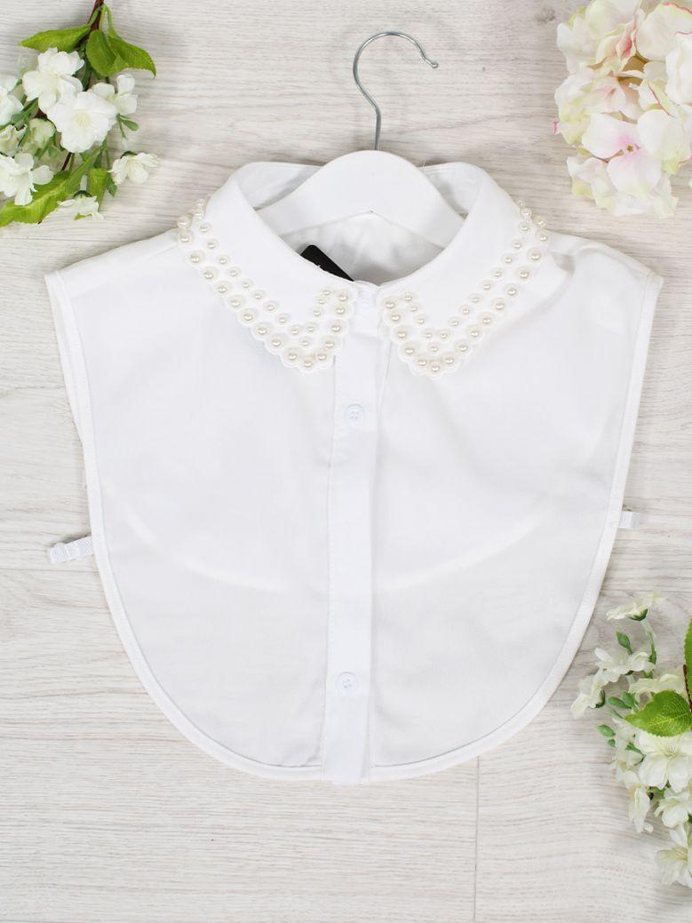 Cilento Women White Pearl Detail Collar Insert
