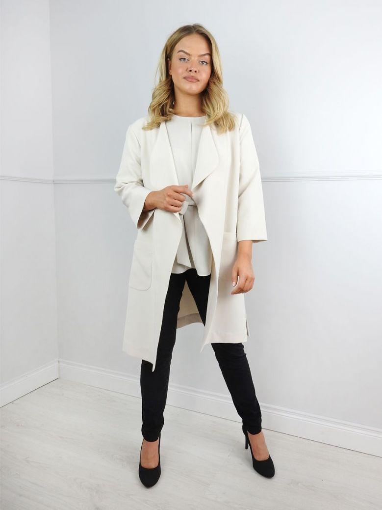 Tia Cream Longline Blazer Jacket