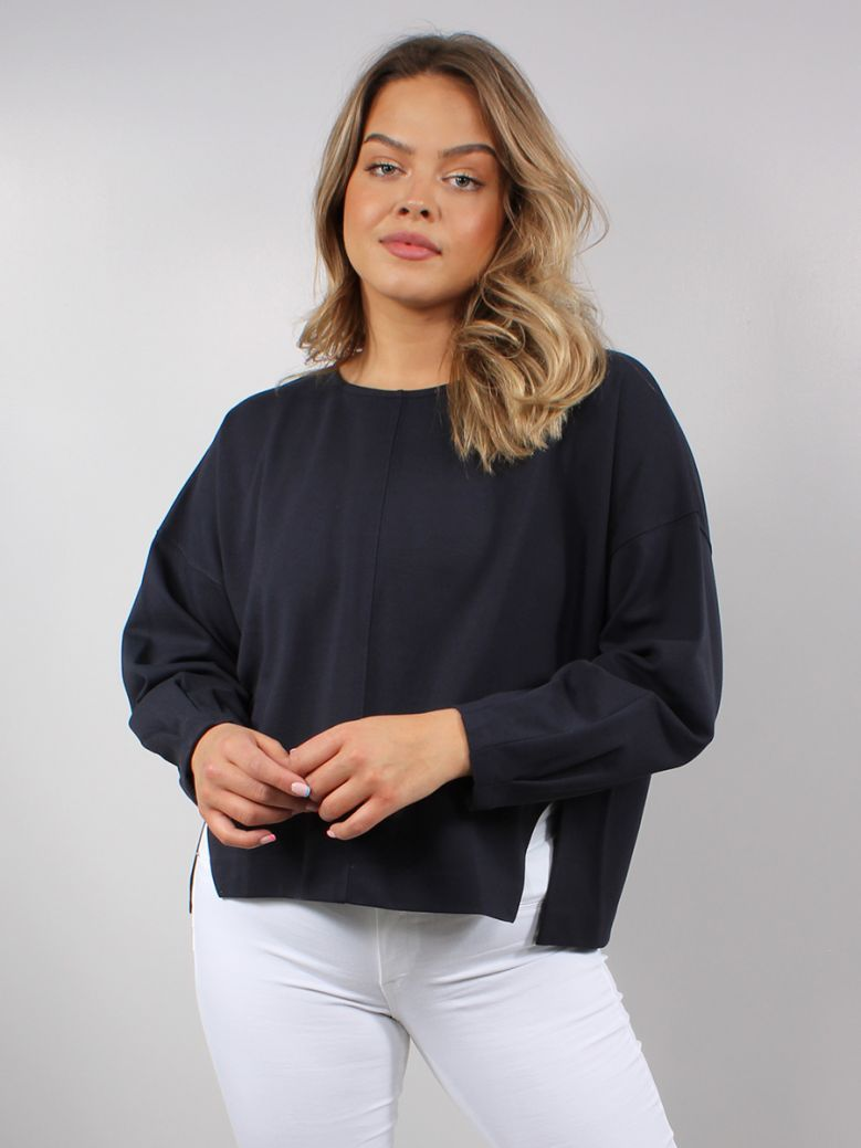 French Connection Utility Blue Suzie Jersey Puff Sleeve Top