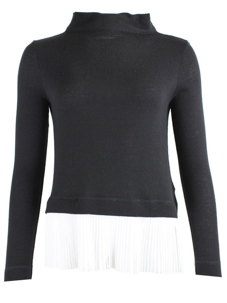 Marella Black & White Pleated Hem Jumper
