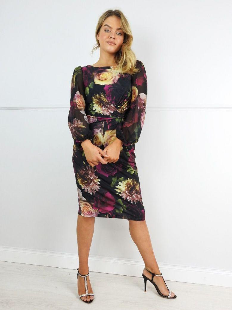 Tia Floral Sheer Sleeve Midi Dress