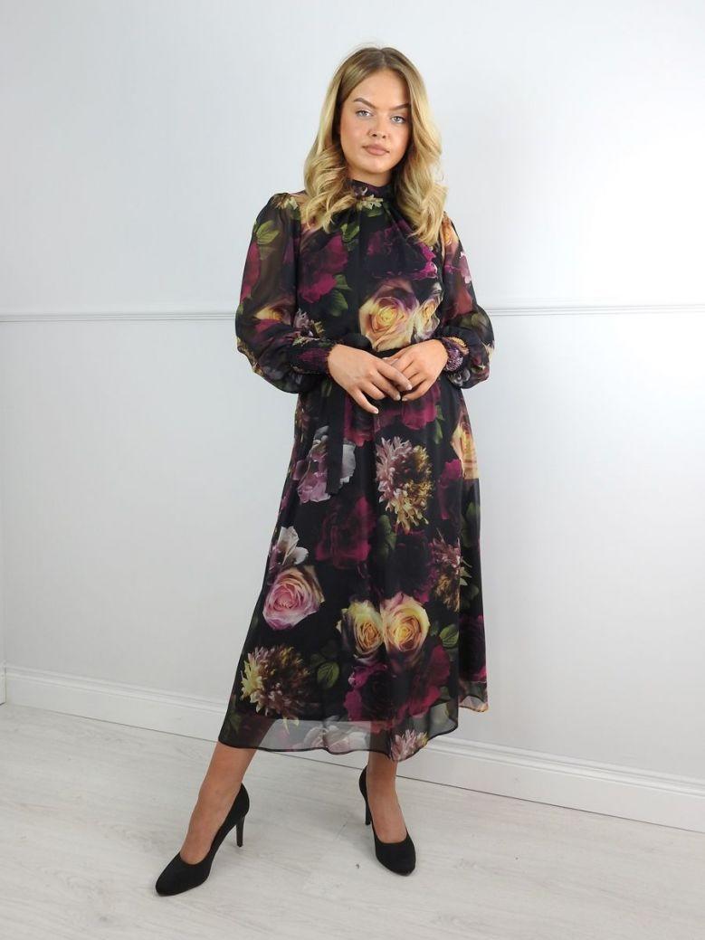 Tia Floral Print High Neck Chiffon Dress