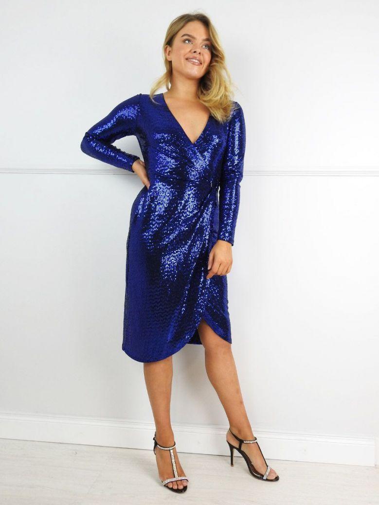 Tia Blue Sequin Wrap Dress