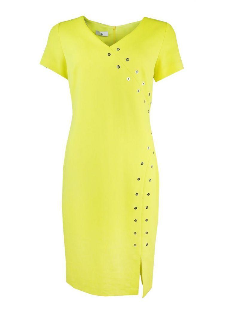 Tia Yellow Stud Detail Short Sleeve Dress