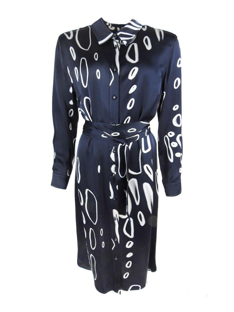 Tia Navy Abstract Print Shirt Dress