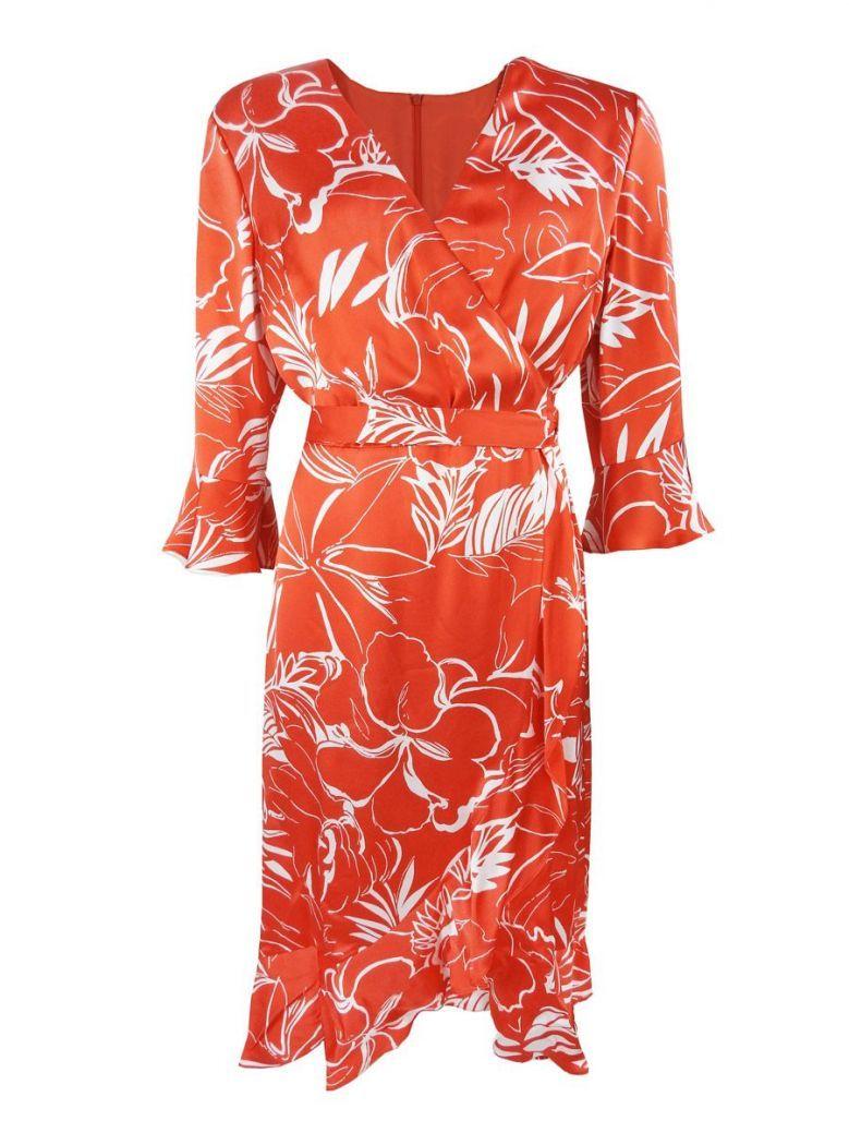 Tia Red Tropical Floral Print Wrap Dress