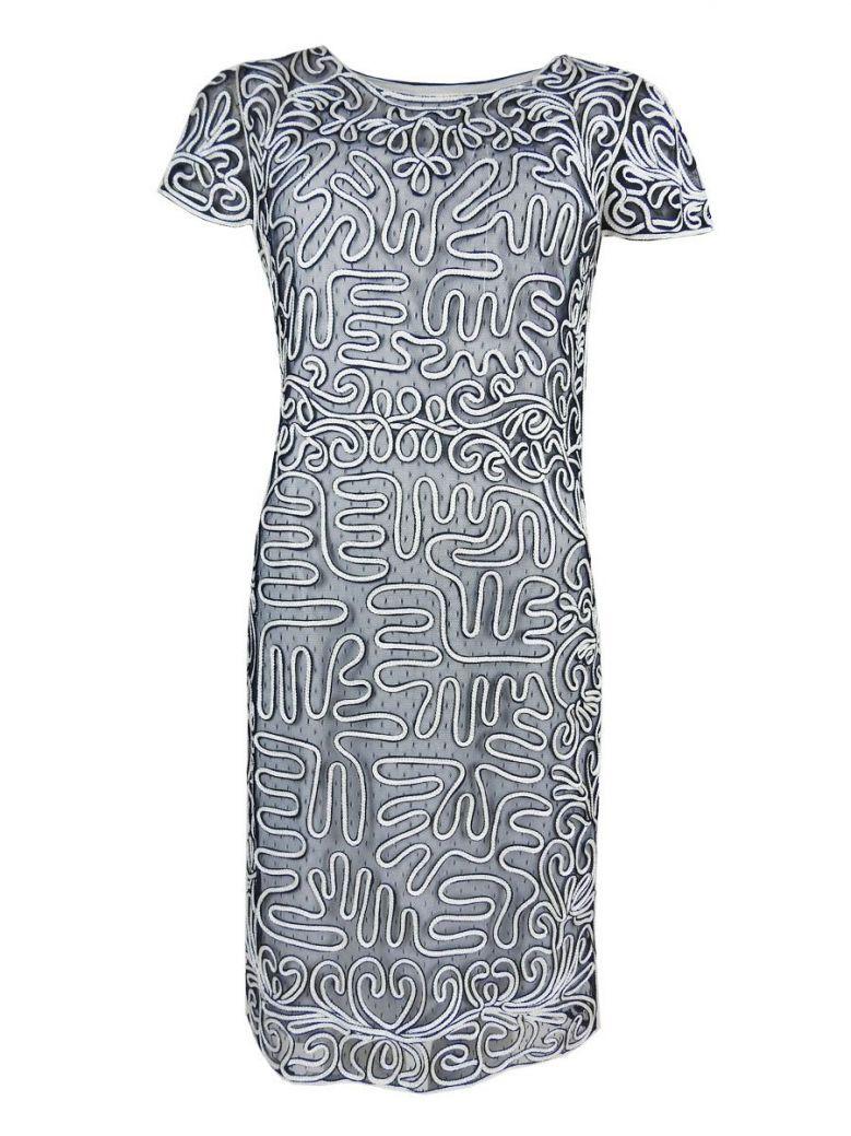 Tia Navy & White Print Dress
