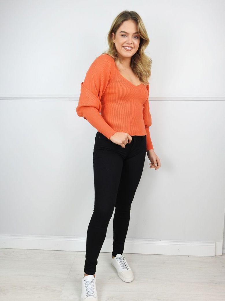 French Connection Grapefruit Orange Bell Sleeve Jumper