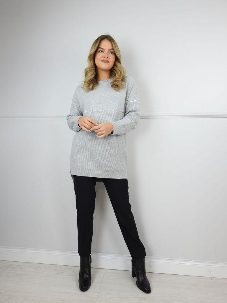 Hukka Grey Knit Diamante Pullover