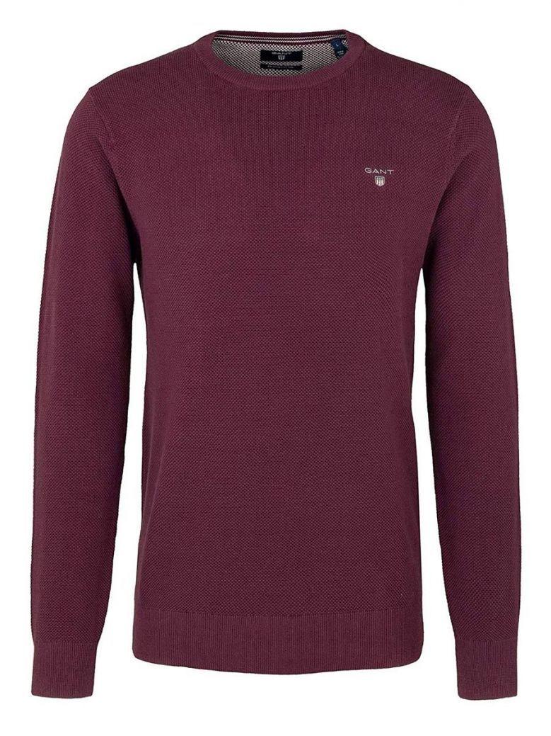 Gant Port Red Cotton Pique Crew Neck Sweater