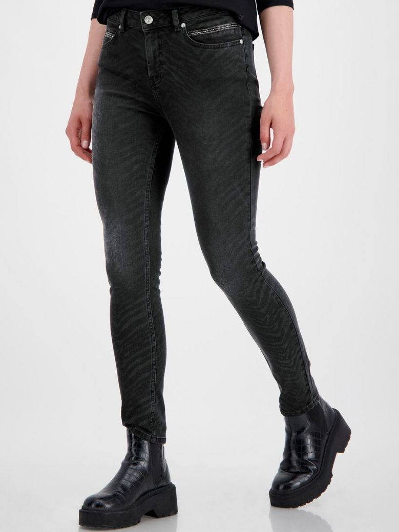 Monari Black Zebra Print Straight Leg Jeans