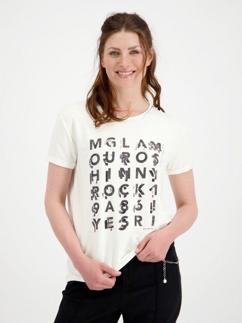 Monari Cream Jersey T-Shirt with Print