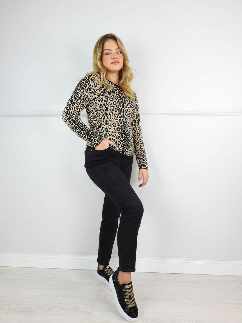 Monari Brown Leopard Print Long Sleeve Top