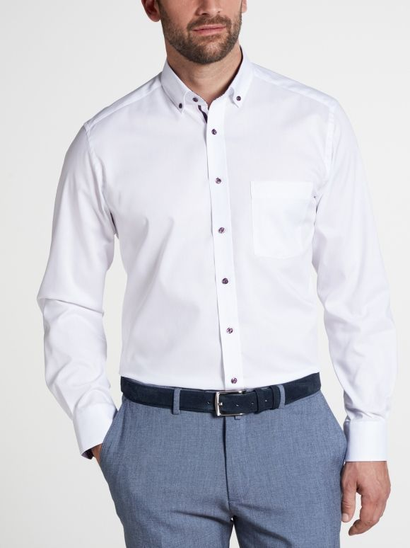 Eterna White Long Sleeved Modern Fit Pinpoint Shirt
