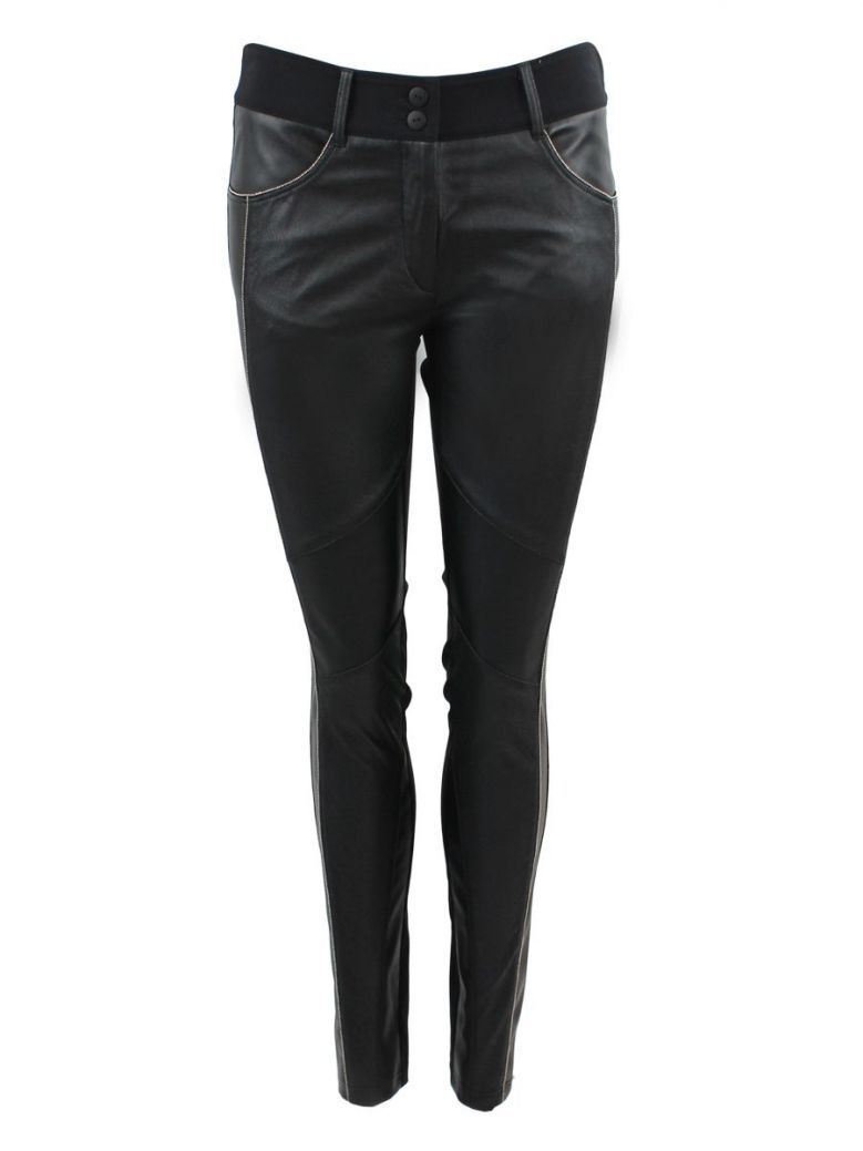 Que Black Leather Panel Trousers