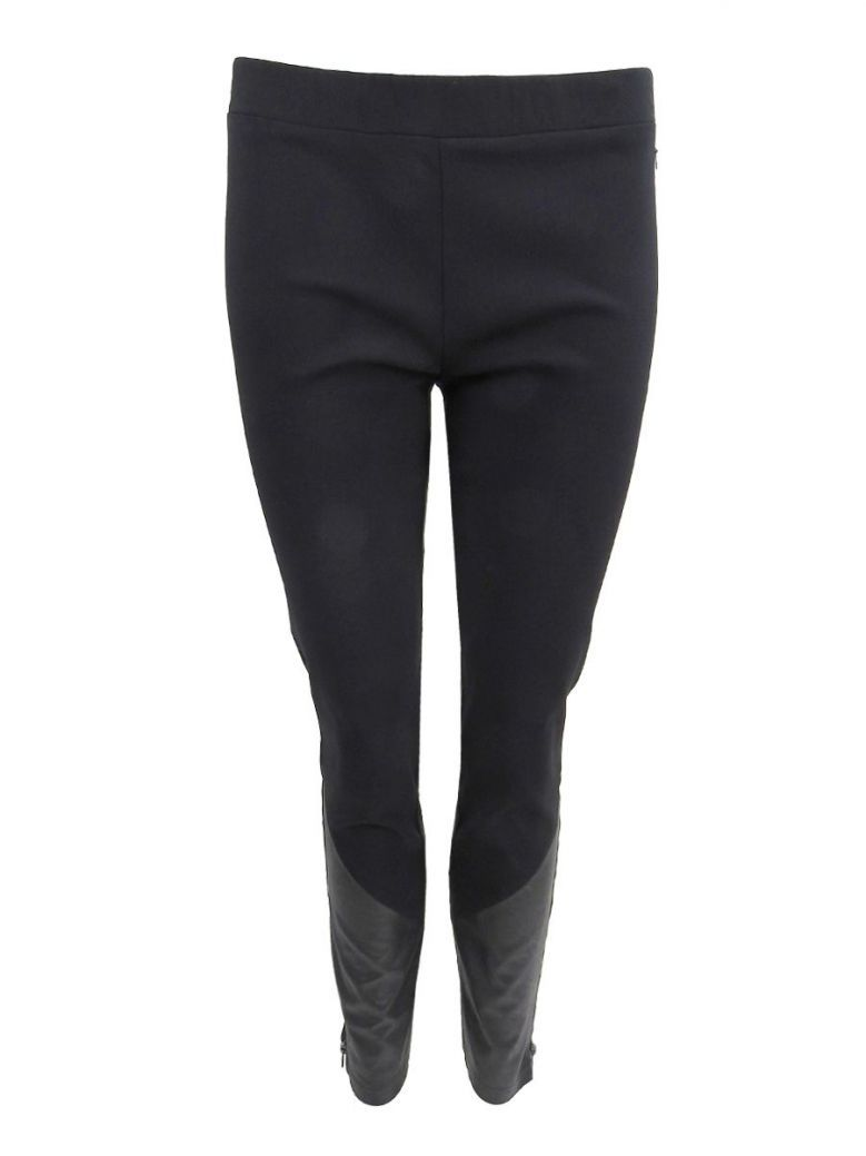 Que Black Slim Fit Stretchy Trousers With Leather & Zip Detail