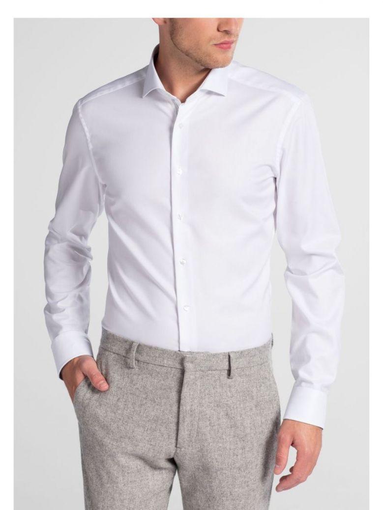 Eterna White Long Sleeve Slim Fit Natté Shirt