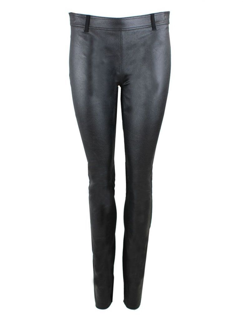 Que Super Slim Fit Stretchy Trousers With Leatherette Panel