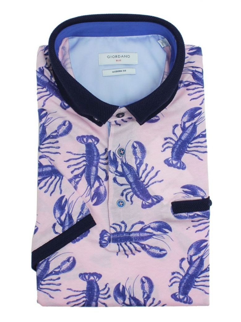 Giordano Pink And Navy Lobster Print Polo Shirt