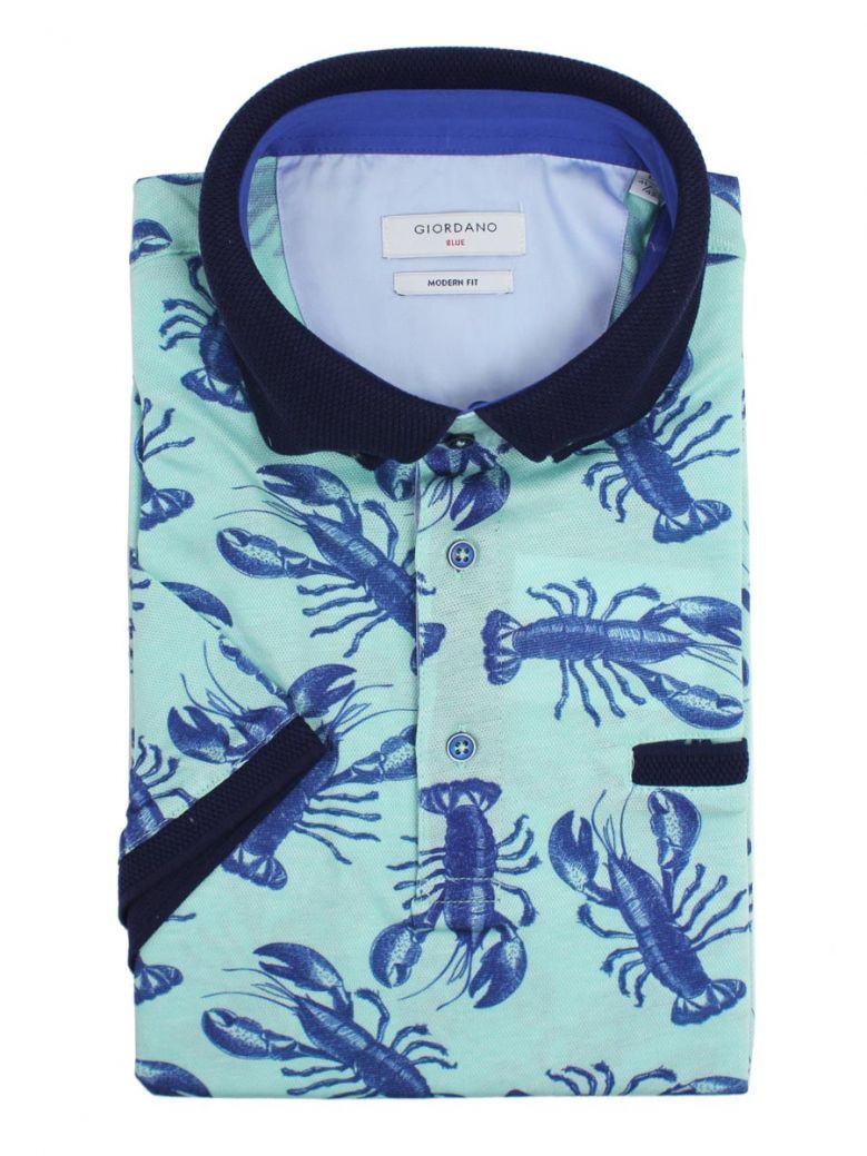 Giordano Green And Navy Lobster Print Polo Shirt