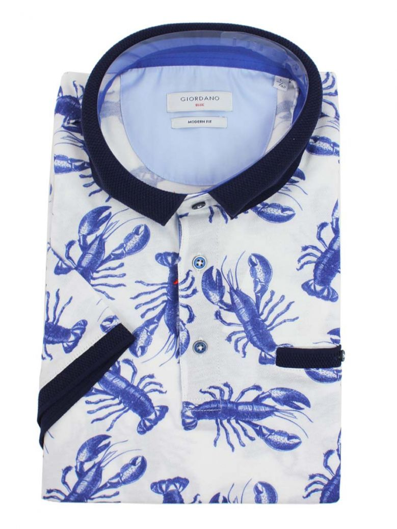 Giordano White, Navy And Blue Lobster Print Polo Shirt