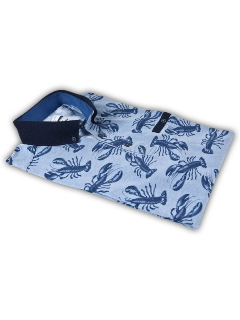 Giordano Blue And Navy Lobster Print Polo Shirt
