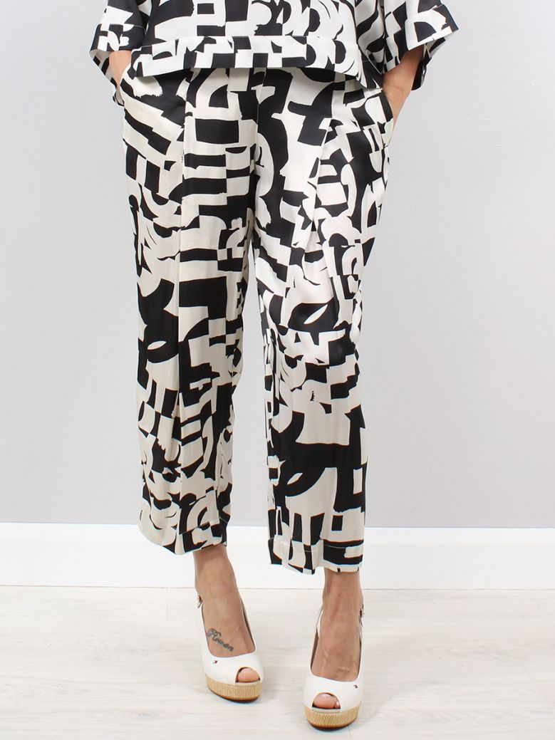 Q'Neel Cream and Black Pattern Trousers