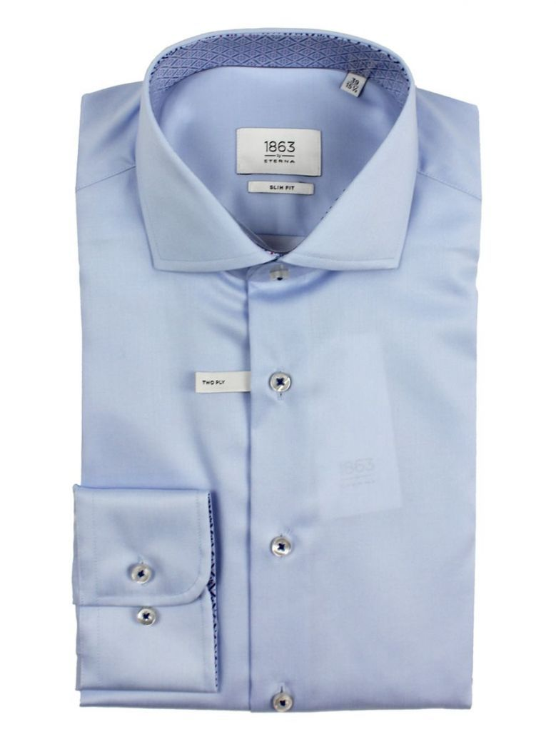 Eterna Blue Slim Fit Shirt Twill Shirt