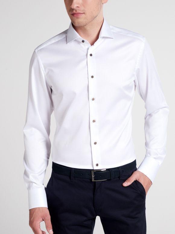 Eterna White Long Sleeved Slim Fit Twill Shirt