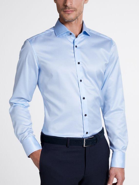 Eterna Light Blue Long Sleeved Slim Fit Twill Shirt