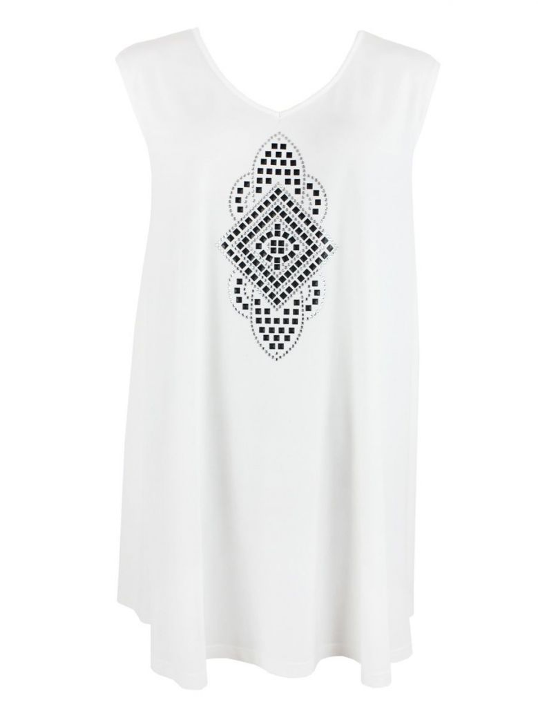 Que Cream Embellished Print Tunic