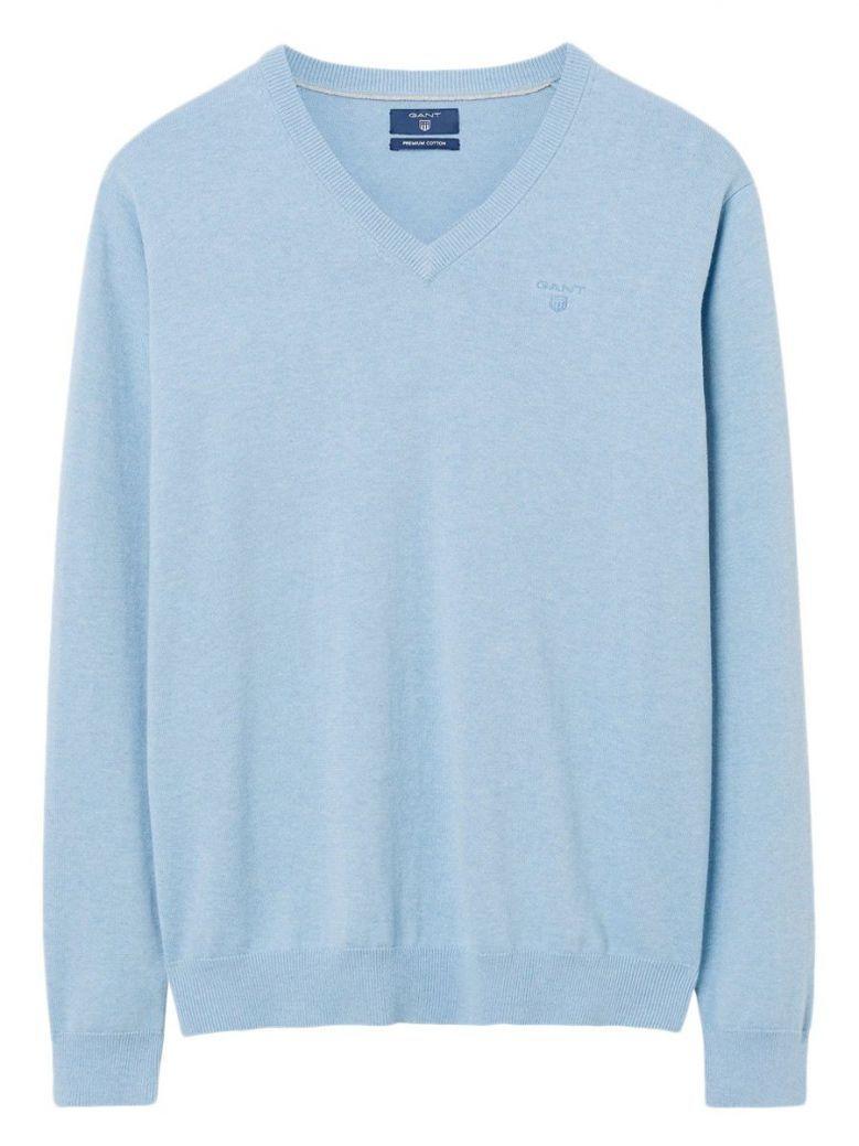 Gant Light Blue Lightweight Cotton V-Neck Jumper